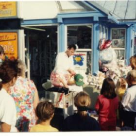 Comedian Adrian's balloon shop on Eastbourne pier, East Sussex