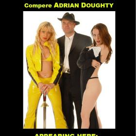 Venue flyers for advertising comedian Adrian Doughty